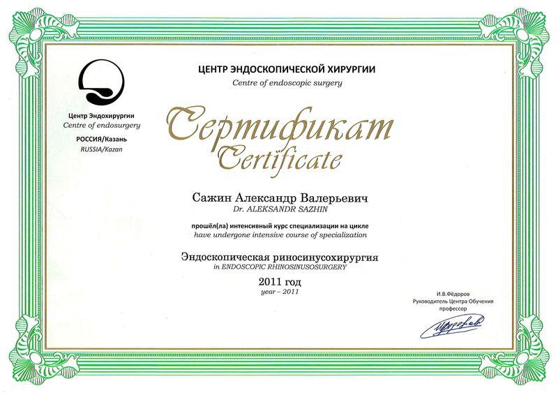 Сажин А.В., Сертификат по Эндоскопической риносинусохирургии
