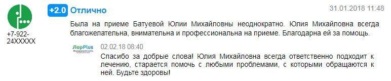 Отзыв о лор враче Батуевой Ю.М. в Перми