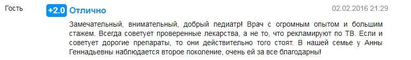 Отзыв о враче педиатре Маракулиной А.Г. в Перми