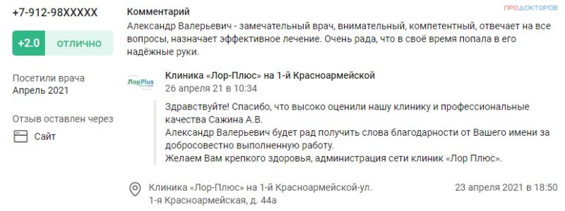Отзыв о лор враче Сажине в Перми