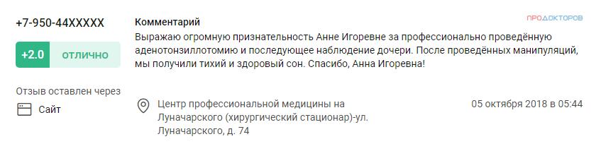 Отзыв о лор враче Власовой А.И. в Перми